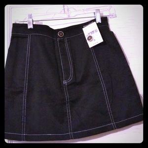 F21 NWT black mini skirt with white stitching